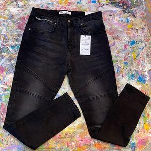 ZARA Black Biker Denim Skinny Jeans 32